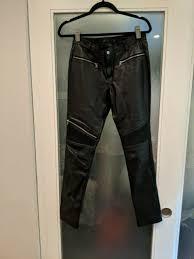 zara woman medium black faux leather ruffle cropped pants for