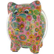 Pomme Pidou Pixie Pig Animal Money Bank  Pink Circles