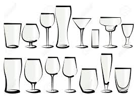 vector illustration set of glasses as you can find in a bar