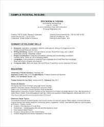 Federal Resumes Sample Resume 8 Examples In Word For Of Use Book
