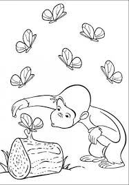 George The Monkey See Butterfly Coloring Pages Curious George