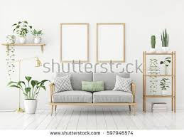 scandinavian furniture style. Scandinavian Style Poster Mock Up With Two Vertical Frames, Sofa And Green Plants On White Furniture