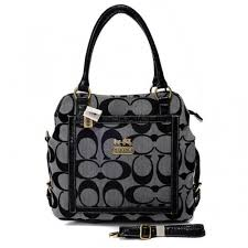 Coach Logo In Signature Medium Grey Satchels BJA