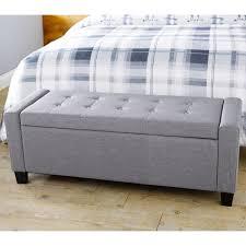 verona ottoman storage blanket box hopsack fabric seat bench foot