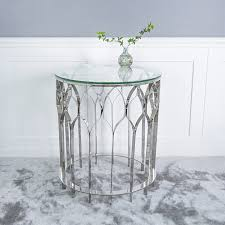 tulip sideboard end table glass table silver chrome art deco