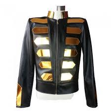 nightclub gold fashion leather jacket