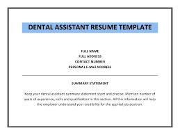 Sample Of Dental Assistant Resume Dental Assistant Resume Template