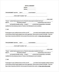 Free Blank Lease Agreement Basic Rental Agreement Fillable 39 Simple