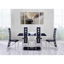 V modern furniture Nordic Details About Buy Affordable Dining Set Vshaped Base Black Glass Black White Chairs Ebay Buy Affordable Dining Set Vshaped Base Black Glass Black White