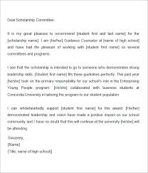 Letter Of Recommendation Example Scholarship Under