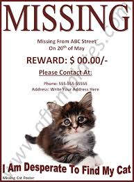 Missing Cat Poster Template Missing Cat Poster Template Rome Fontanacountryinn Com