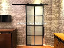 glass sliding barn door modern frosted interior with black steel frame and hardware new stylish framed