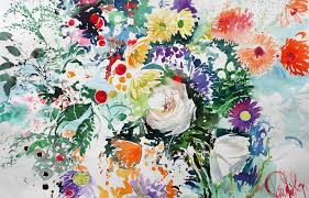 paul riley watercolour white rose and wild flowers