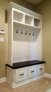 Maple mudroom bench built-in with white lacquer and stained solid ...
