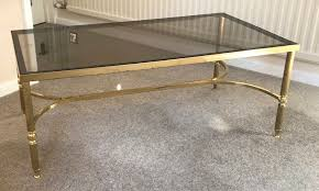 brass and tinted glass coffee table traditional design 39 x 20 x 16 high