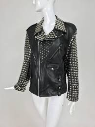vintage heavily studded black leather motorcycle jacket mens small ery soft black leather