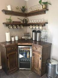 Use the table's drawers, open cubbies, or shelves to hold dish towels and baskets stocked with supplies. Corner Coffee Station With Floating Shelves Custom Furniture Canada