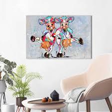 <b>HDARTISAN</b> Vrolijk Schilderij <b>Wall Art Canvas</b> Happy Cows ...