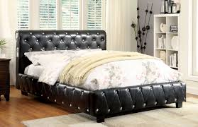 Black Leatherette Tufted Upholstered Bed Frame wBluetooth Speakers