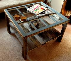 Old window & pallet coffee table...we'd probably put a thick