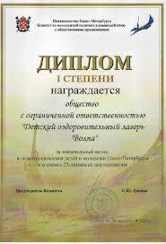 Объединение детских лагерей Карельский Перешеек Волна Правительство Санкт Петрербурга Комитет по молодёжной политике и взаимодействию с общественными организациями Диплом 1 ой степени за значительный вклад в