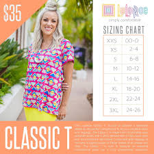 Lularoe Size Chart Lularoe Classic T Sizing Chart With Price In 2019