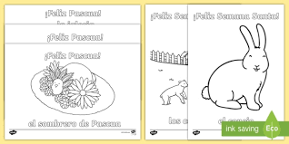 Happy Easter Colouring Pages Spring Ks2 Spanish Mfl Easter