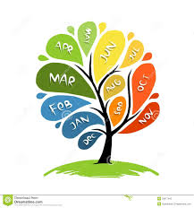 Design For Art File Art Tree Design With 12 Petal Months Of Year Stock Vector