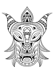 Adult African Mask 3 Coloring Pages