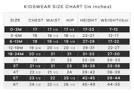 Size Chart Kidswear Lashkaraa