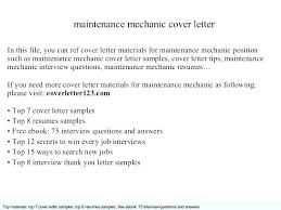 Cover Letter Mechanic Mechanic Cover Letter Maintenance Mechanic