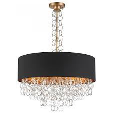 catena collection 8 light matte gold finish with black linen drum shade pendant d28 h40
