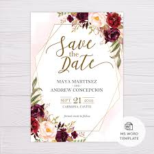 Save The Date Template Word Marsala Flowers With Gold Frame Save The Date Template