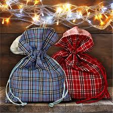 Plaid Christmas Tree Plaid Fabric Gift Bag Country Christmas Plaid Gift Bag With