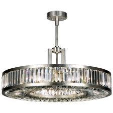 fine art lamps 815840st silver leaf crystal enchantment 29 diameter six light drum pendant with multi faceted crystal panels lightingshowplace com