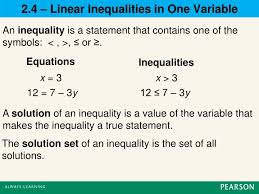an inequality is a statement that contains one of the symbols
