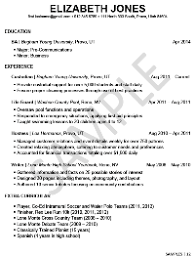 resume example for students