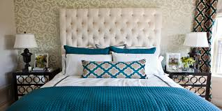 Beige Tufted High Headboard With Turquoise Bedroom Bedding Sheet Feat White  Covering Bed In Vintage Master Bedroom