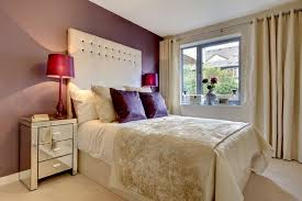 create a romantic mood by adorning your bedroom in shades of wine purple and ivory velvet textiles and window treatments add a textural and tactile