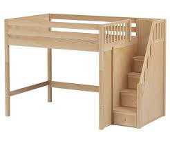 enormous full size high loft bed with stairs natural by maxtrix kids furniture