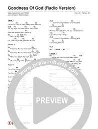 Goodness Of God Radio Version Chord Chart Editable