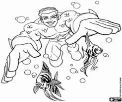 Small Picture Aquaman DC Comics superhero coloring page printable game