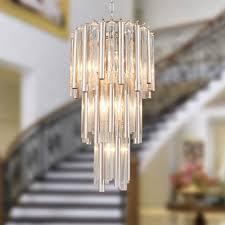 3 tier modern crystal chrome chandelier flute pendant ceiling light lightingmust