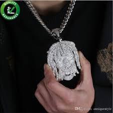 whole hip hop silver jewelry mens diamond necklace iced out pendant cuban link chain bling lil pump portrait pendants luxury designer rapper charm