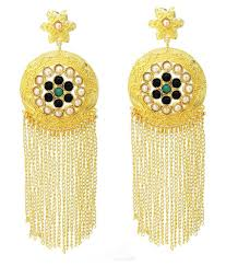 fl indo western desginer colored stone stylish party wear chandelier earring for girls women