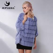 jepluda casual natural real mink fur coat women winter mink fur short cloak free size o neck mink fur jacket women real fur coat