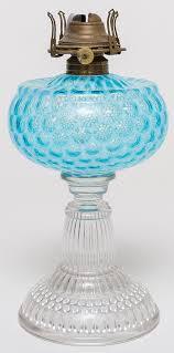 6 hobbs coin spot blue opalescent oil lamp