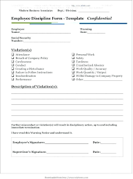 Disaplinary Forms Disciplinary Forms Template South Form Printable Employee Free