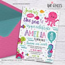 Under The Sea Girl Invitation Ocean Birthday Party Printable Invitation Watercolors Water Birthday Invitation Beach Party Invitation