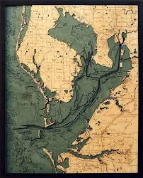 Lake Conroe Nautical Chart Tampa Bay 3 D Nautical Wood Chart 24 5 X 31